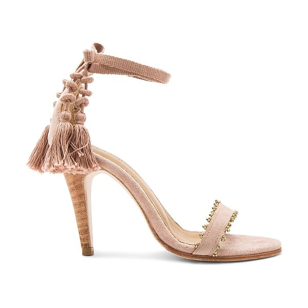 """ULLA JOHNSON """"Dani 4"""""""" High Heel"""" in rose - Suede upper with leather sole. Wrap ankle with fringed..."""
