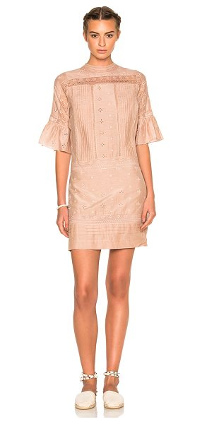 Ulla Johnson Elena Embroidered Cotton Silk Dress in pink - Self: 73% cotton 27% silk - Lining: 100% cotton.  Made...