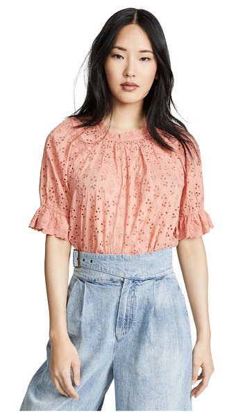 Ulla Johnson fern top in coral - Fabric: Eyelet Elastic at cuffs Waist-length style Crew...