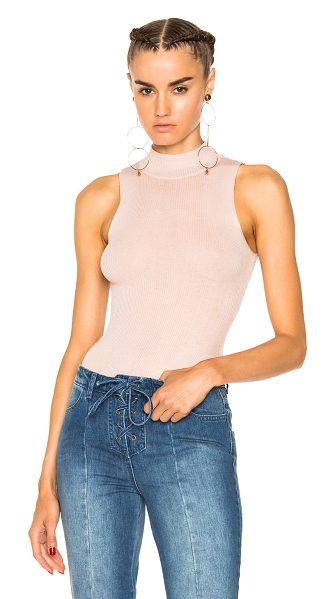 Ulla Johnson Frida Bodysuit in pink,neutrals - 100% cotton.  Made in China.  Dry clean only.  Rib knit...