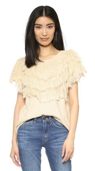 Ulla Johnson Idra top in natural - Dense tonal fringe adds plush texture to this unique...