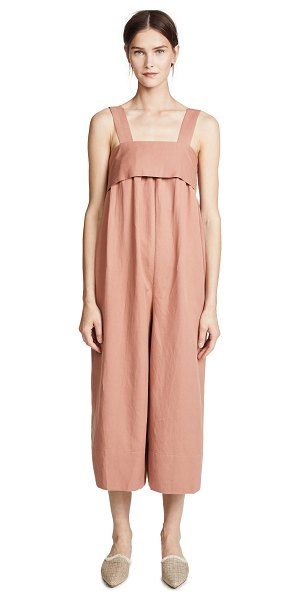 ULLA JOHNSON iggy jumpsuit in clay - Fabric: Soft twill Pleated Bib at front ties in back...