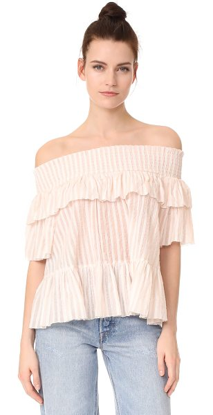 Ulla Johnson kasia blouse in rose - An off-shoulder Ulla Johnson blouse crafted in ruffled...