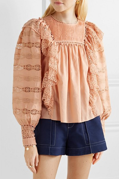 Ulla Johnson lily ruffled crochet-trimmed cotton-voile blouse in blush