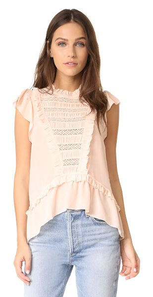 Ulla Johnson lois top in blush - Lace trim and charming ruffles add feminine appeal to...