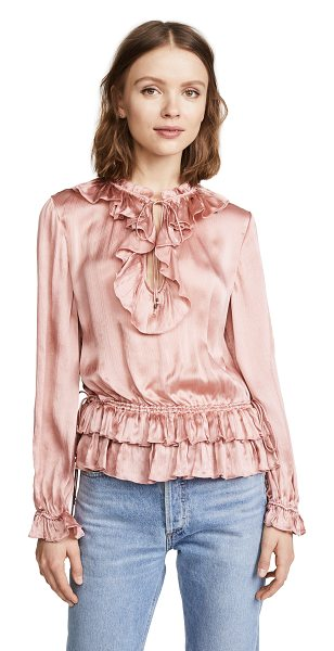 Ulla Johnson maise blouse in rose - An inset drawstring gathers the hem of this lustrous...