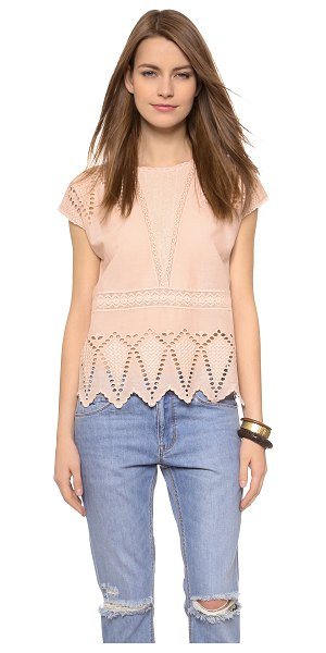 Ulla Johnson Maryse blouse in nude - Soft mesh inlays accent the double V neckline of this...