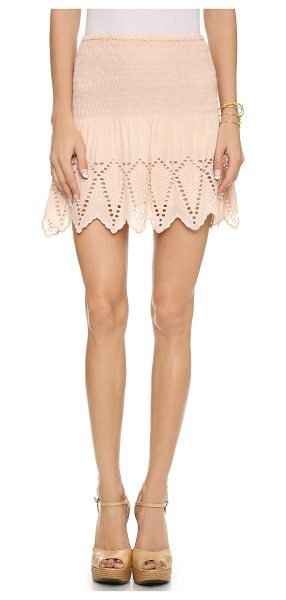ULLA JOHNSON Mireille skirt in nude - Smocking and eyelet embroidery bring sweet texture to...