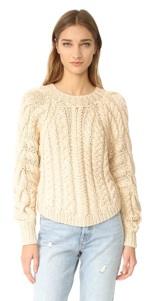 Ulla Johnson niva pullover in natural - Raised cable designs add rich texture to this chunky...