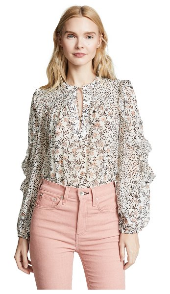 Ulla Johnson norma blouse in pearl - Fabric: Flocked chiffon Balloon sleeves Ruffle trim...
