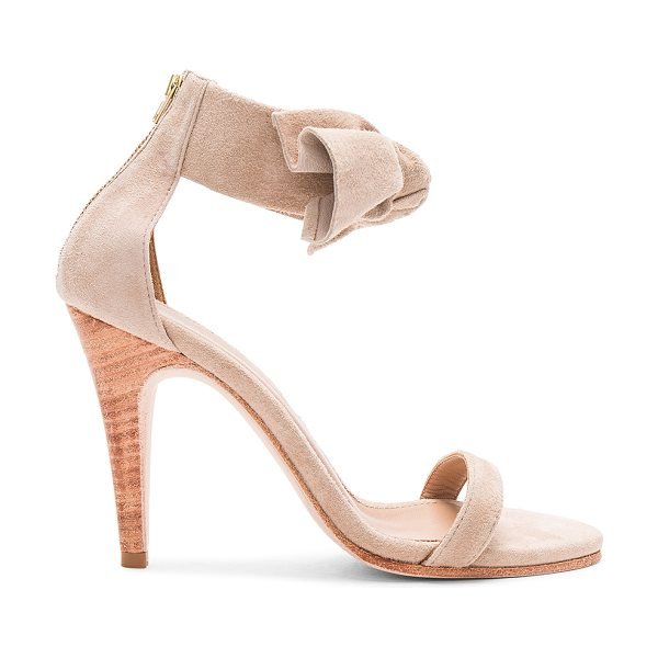 "ULLA JOHNSON Thecia Heel in tan - ""Suede upper with leather sole. Back zip closure. Front..."