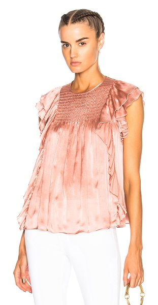 Ulla Johnson Winnie Top in pink - 100% silk.  Made in China.  Dry clean only.  Smocked...