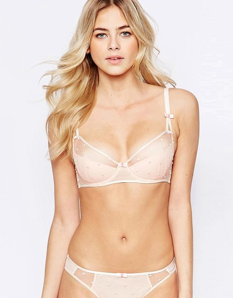 Ultimo Arabella Cut & Sew Bra A-D DD-F in pink - Bra by Ultimo, Soft-touch fabric, Mesh panels, Bow...