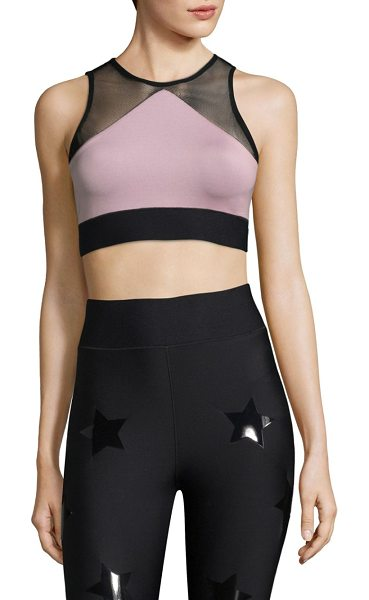 Ultracor adrift sport mesh top in blush pink - Sporty pieced crop top with mesh inserts. Round neck....