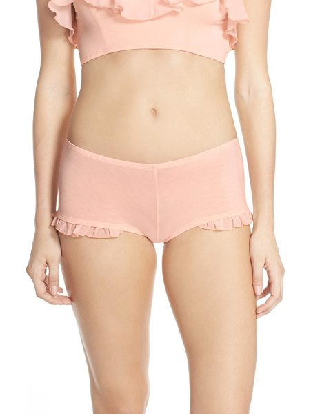 Underella by Ella Moss fiona chiffon ruffle boyshorts in creole pink - Comfy ersey-knit boyshorts get a girly spin with ruffles...