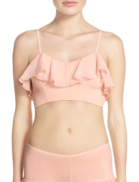 UNDERELLA BY ELLA MOSS fiona chiffon ruffle bralette in creole pink - A wispy all-around ruffle adds alluring volume and...