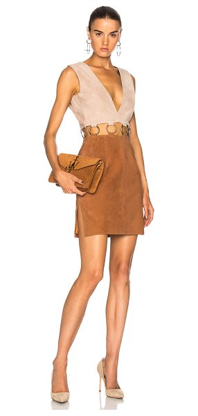 Understated Leather Ultimate for FWRD Suede Colorblock Dress in brown,neutrals - 100% suede leather.  Made in USA.  Professional leather...