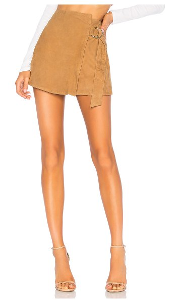 Understated Leather Ultimate suede mini wrap skirt in tan