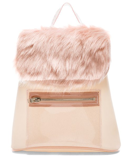 UNIF Glitz backpack in pink - Faux fur and polyurethane exterior and lining. Measures...