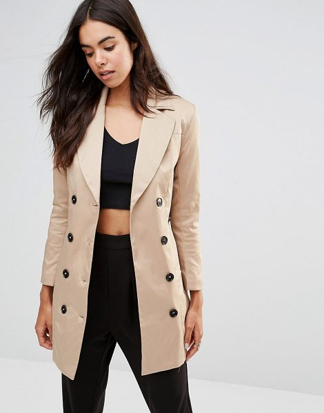 UNIQUE 21 Belted double breasted trench coat - Coat by Unique 21, Woven fabric, Notch lapels, Button...