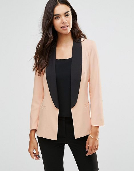Unique 21 Tailored Blazer With Contrast Trim in pink - Blazer by Unique 21, Woven fabric, Contrast shawl...