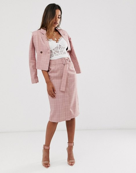 UNIQUE21 check belted skirt in pink