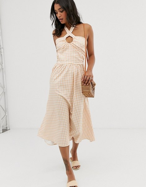 UNIQUE21 check lace up front midi dress-pink in pink
