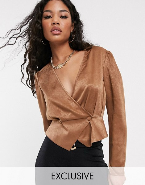 UNIQUE21 satin button front blouse-brown in brown