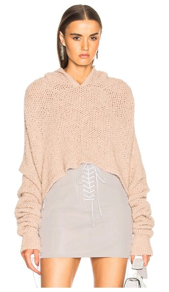 Unravel Mesh Cropped Knit Hoodie in pink - 72% cotton 28% polyamide.  Made in Italy.  Hand wash. ...