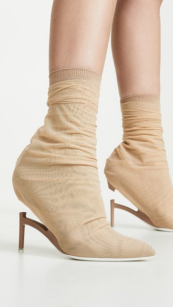 Unravel Project broken heel flyknit boots in nude - Fabric: Mesh Broken heel design Pointed toe Leather sole...