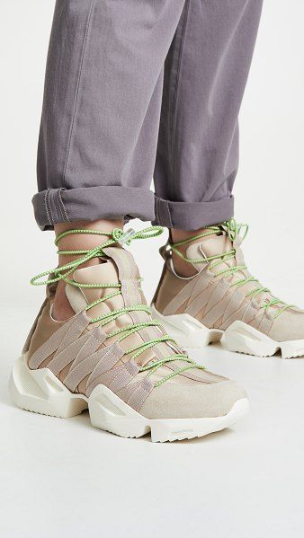 Unravel Project drawstring sneakers in nude - Fabric: Technical weave Suede accents Pull tabs Chunky...