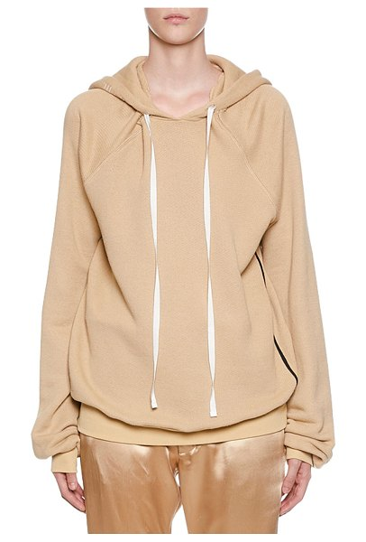 Unravel Shoulder Cutout Cotton-Cashmere Hoodie in nude