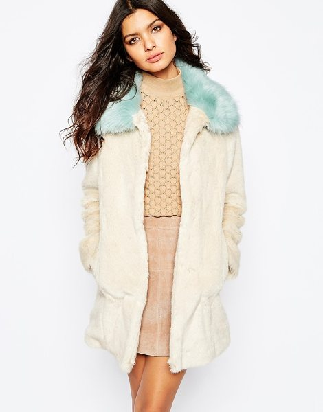 Unreal Fur Candy blossom coat in cream and aqua