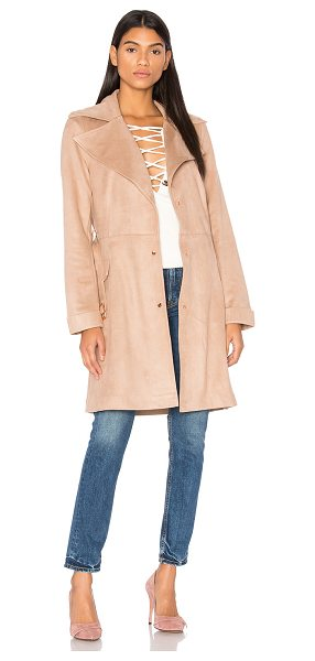 Unreal Fur Magic Trench Coat in beige - 90% poly 10% elastane. Hand wash cold. Front snap button...