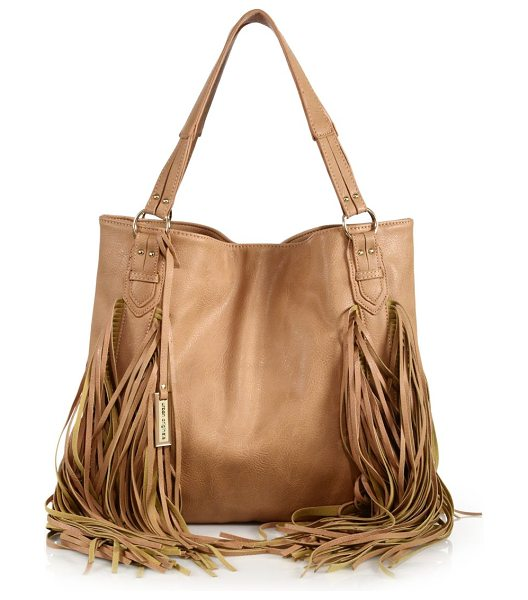 Urban Originals Castaway fringed faux leather tote in antiquerose - Faux leather carryall trimmed with swingy fringeDouble...
