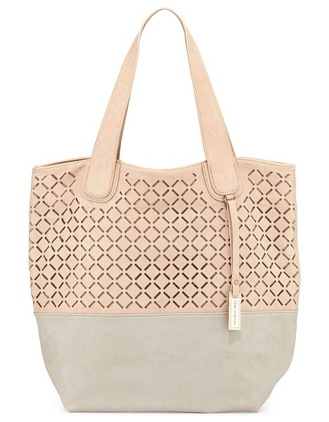 Urban Originals Coogee perforated colorblock tote bag in nude/stone - Urban Originals COOGEE PERFORATED TOTE Size: ONE SIZE....