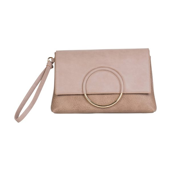 Urban Originals custom vegan leather wristlet clutch in taupe - Polished ring hardware adds contemporary dimension to a...