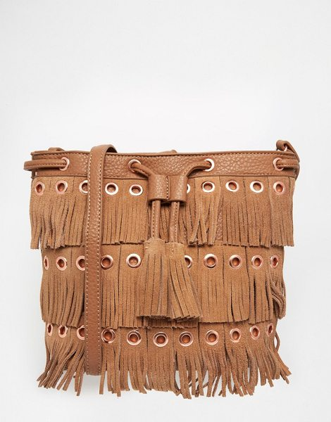 Urban Originals Fringed bucket bag in tan - Cart by Urban Originals, Faux-leather outer, Real...