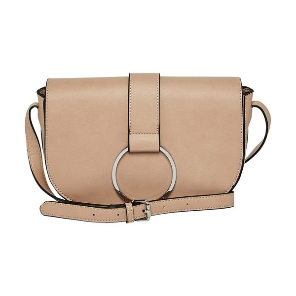 Urban Originals lola vegan leather crossbody saddle bag in pink - Polished ring hardware accents the curved flap of a...