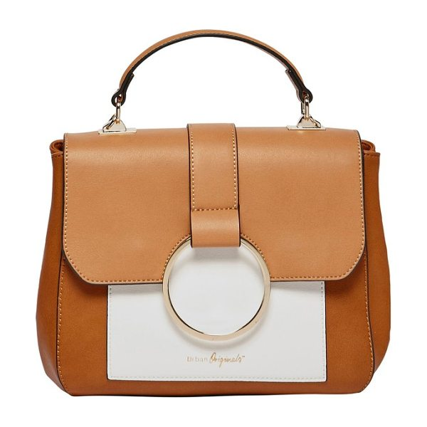 Urban Originals reckless destiny vegan leather satchel in sand/ tan - Elevate your street-style game with a color-blocked...