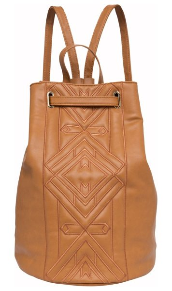 URBAN ORIGINALS shaded lady vegan leather backpack - Tonal geometric embroidery upgrades a supple...