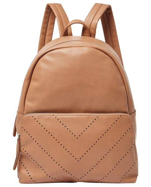 Urban Originals the free vegan leather backpack in nude - A perforated chevron design livens up the look of a...