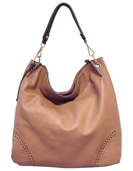 Urban Originals Utopia perforated hobo in camel/ chocolate - Mod perforations highlight the corners of a chic,...