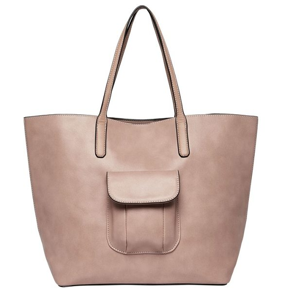 Urban Originals wild girl vegan leather tote in nude - A convenient exterior flap pocket that's perfectly sized...