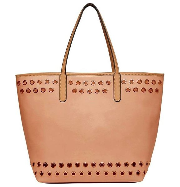 Urban Originals wonderland vegan leather tote & shoulder bag in blush - Gleaming grommets add a bit of rock-and-roll attitude to...