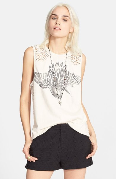 Urban Outfitters bulls eye crochet tee in stone/ ivory combo - A vintage graphic styles the front of a sleeveless...