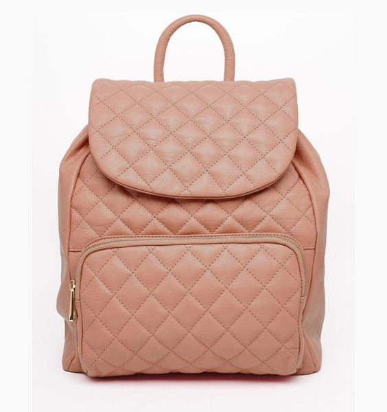 Urbancode Leather quilted backpack in blush pink