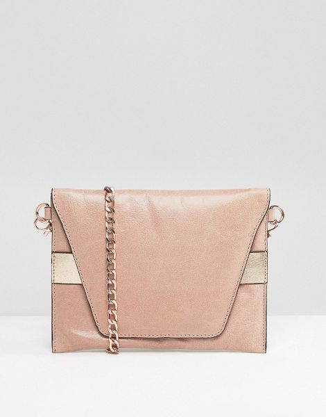 Urbancode Real Leather Cross Body Bag with Rose Gold Band in pink