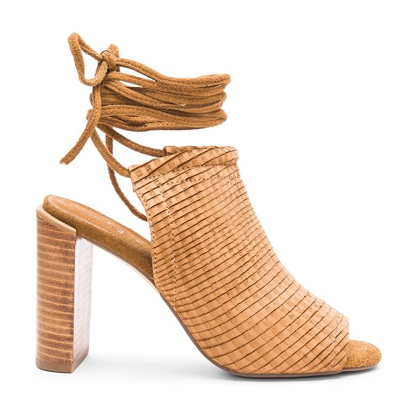 Urge Eve heel in tan - Suede upper with man made sole. Wrap ankle with tie...