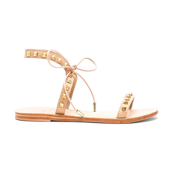 URGE Monte Sandal in beige - Leather upper with leather sole. Pyramid stud accents...